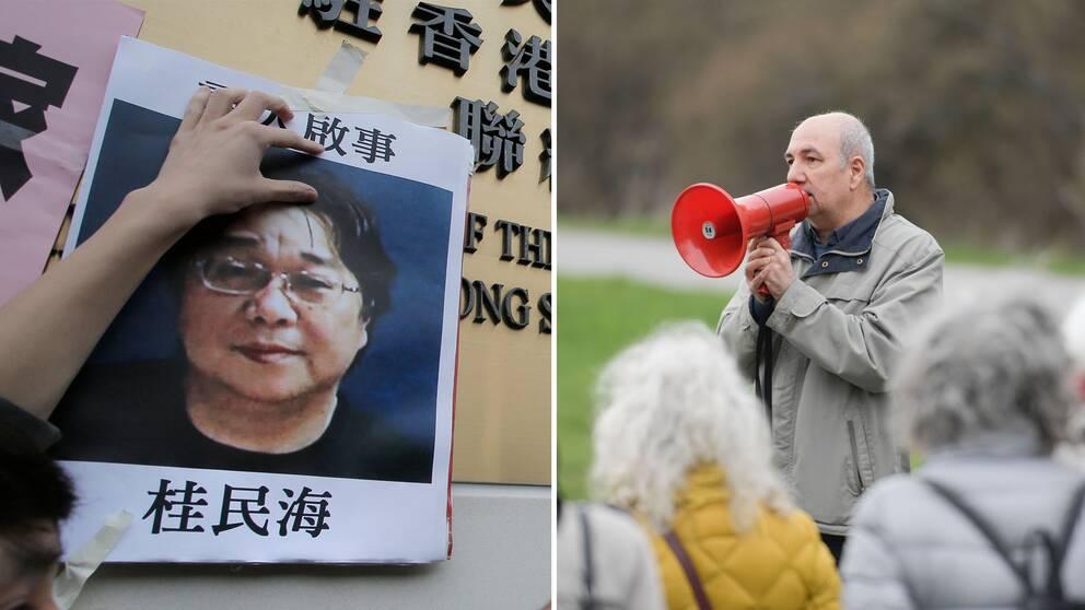 Initiativtagaren till fredagens manifestation, författaren och journalisten Kurdo Baksi, under en tidigare manifestation för den fängslade förläggaren Gui Minhai utanför Kinas ambassad.