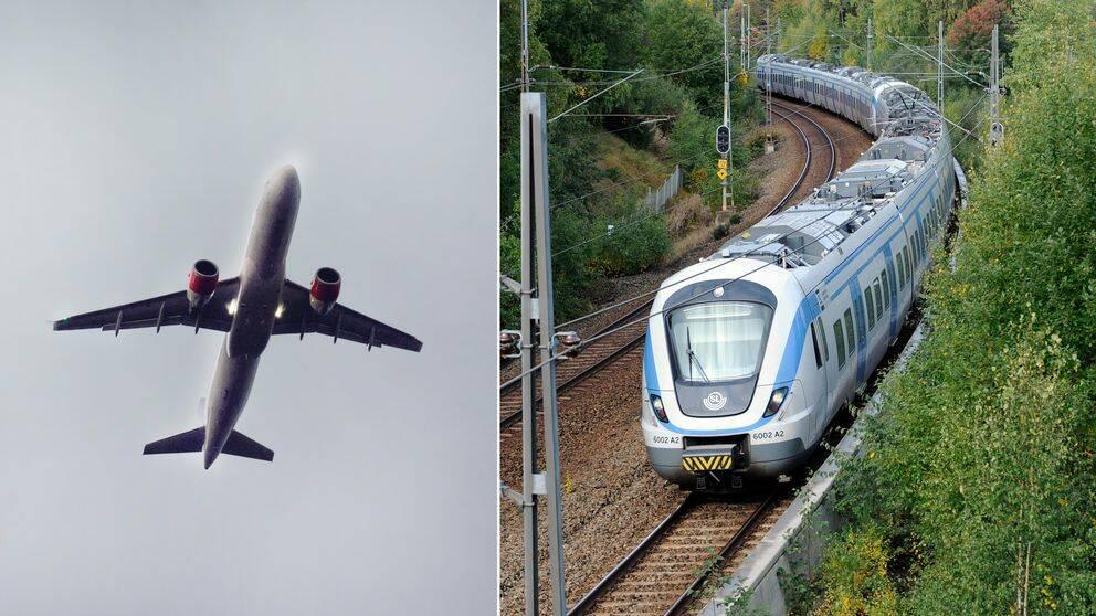 Ett flygplan i luften, sammansatt med ett tåg.