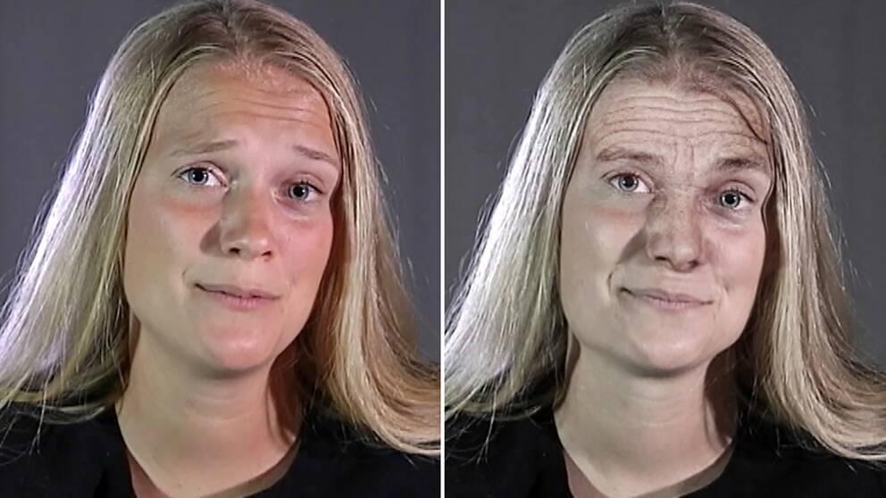 """dubbelbild: porträtt på kvinna där det andra """"åldrats"""" i dator"""