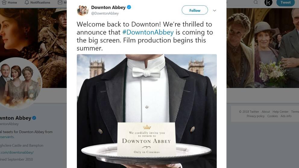 Bekräftelsen om att Downton Abbey ska bli film kom under fredagen på tv-seriens officiella twitterkonto