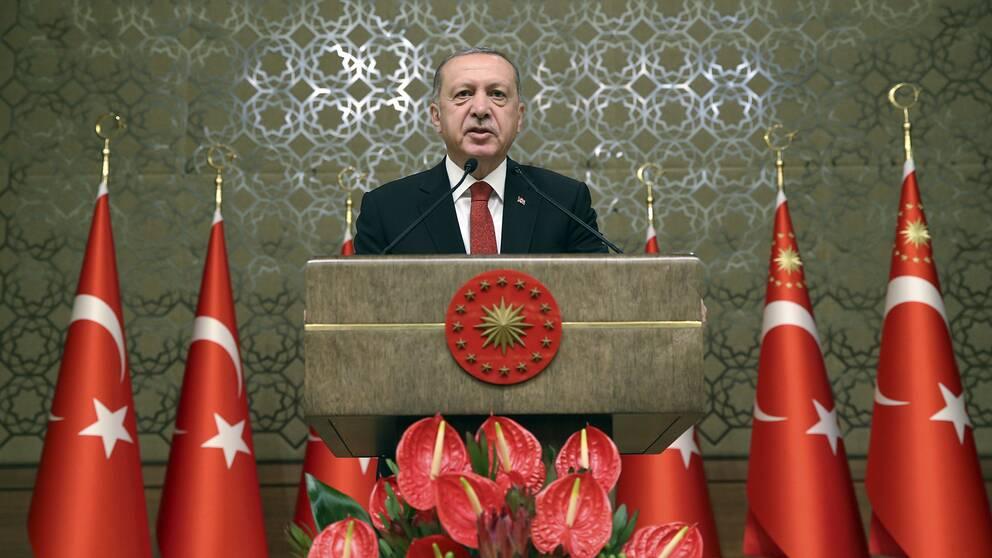 Turkiets president Recep Tayyip Erdogan i ett tal på fredagen.