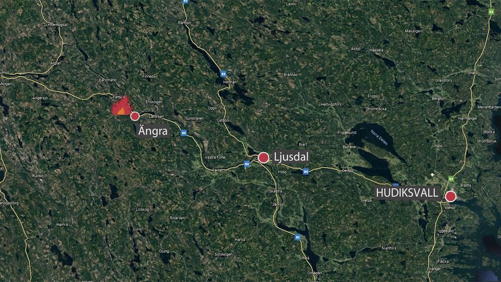 satellitbild med markeringar