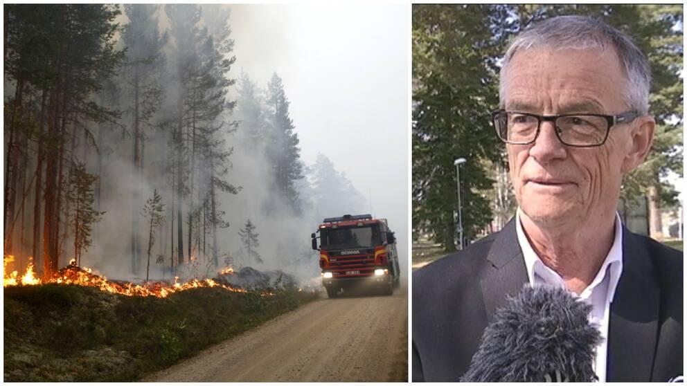 Torbjörn Wannqvist, räddningschef i Bollnäs, hjälper just nu Ljusdalspersonalen.