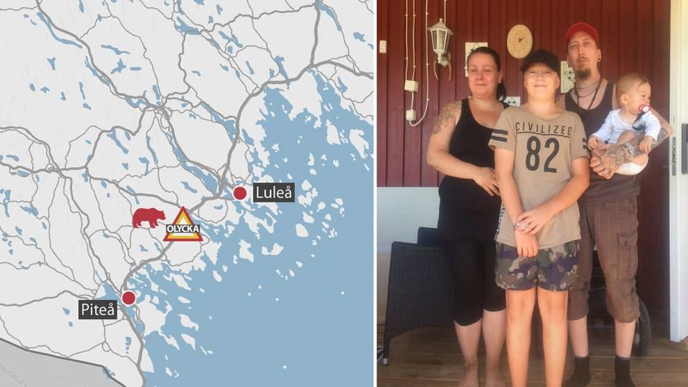 kartgrafik, och en familjebild