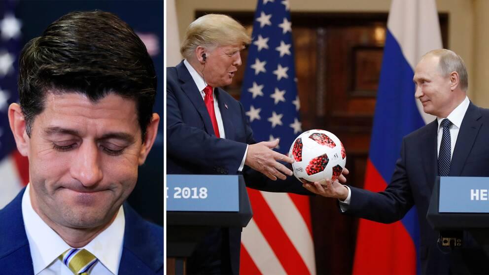 Paul Ryan, Trump får en fotboll av Putin i Helsingfors.