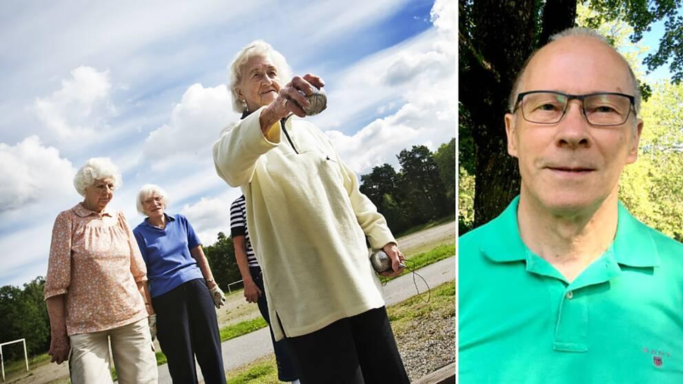 dubbelbild: damer som spelar boule samt porträtt på man med glasögon och grön piké