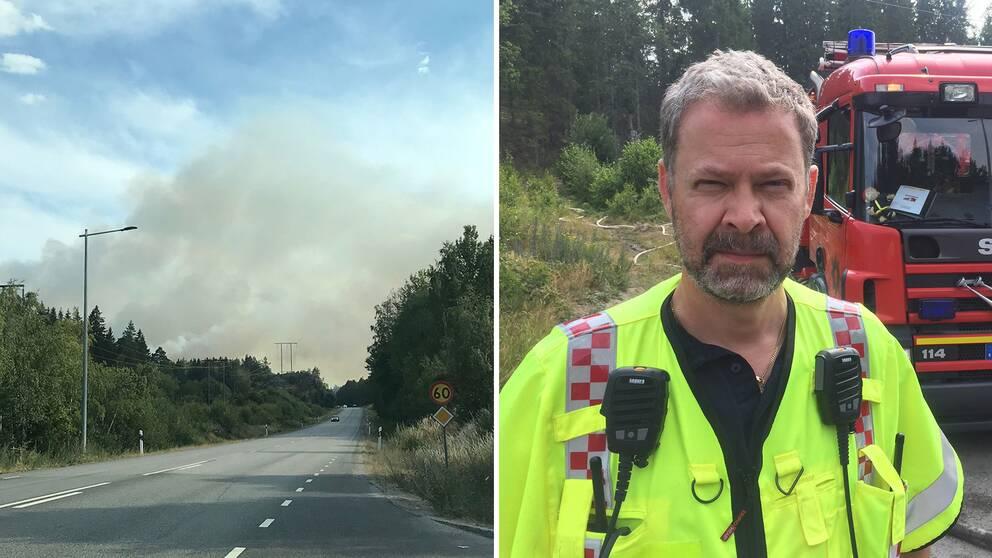 Anders Handell, yttre befäl på Södertörns brandförsvarsförbund vid Nykvarnsbranden.