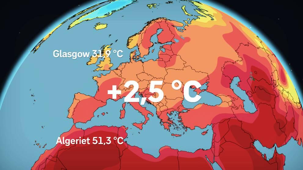 Europa hade i genomsnitt 2,5 grader över det normala under maj månad. Rekordvärme uppmättes i Glasgow och i Algeriet, enligt EU:s meteorologiska institut.