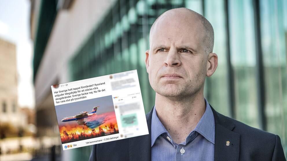 """I inlägget som spridits på sociala medier står det """"Nu får det fan vara slut på ryssofobin"""". Här Björn Palmertz på Försvarshögskolan."""