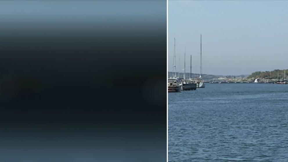 En tvådelad bild. Till vänster är bilden blå, med en mörkare skugga i mitten. Till höger föreställer den ett hamninlopp med segelbåtar på båda sidor och klippor vid horisonten.