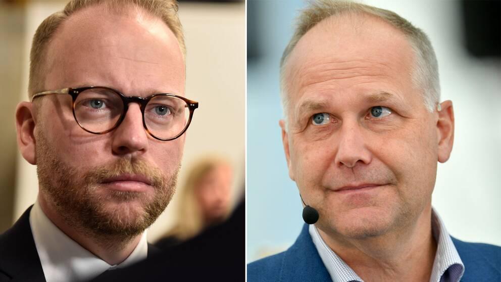 Olof Laveson (M) Jonas Sjöstedt (V)