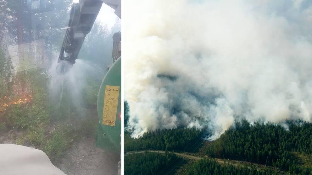 En gödseltunna som sprutar vatten över en skog som brinner samt en skogsbrand
