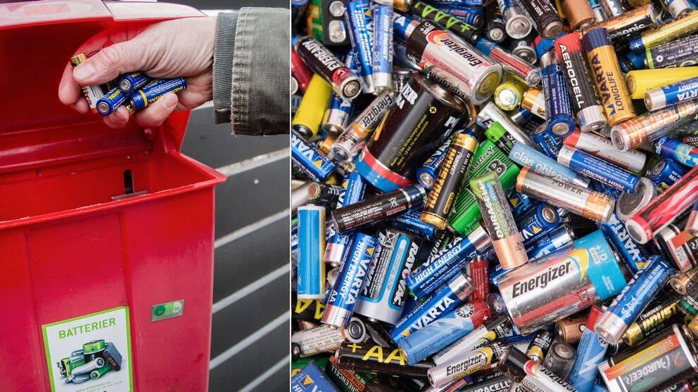 Batterier i en hög samt en person som lägger batterier i en låda.