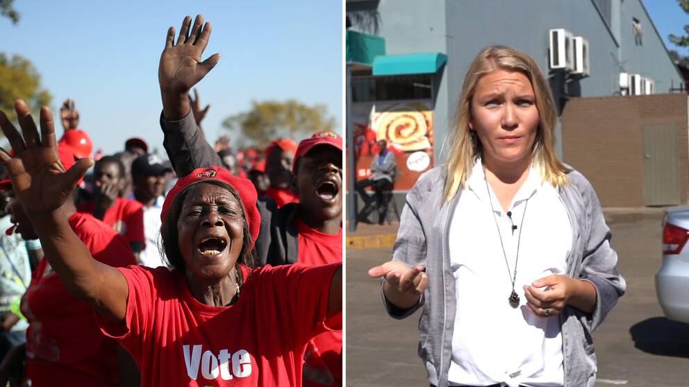 """En kvinna med en tröja där man ser ordet """"vote"""" och reportern Liselott Lindström."""