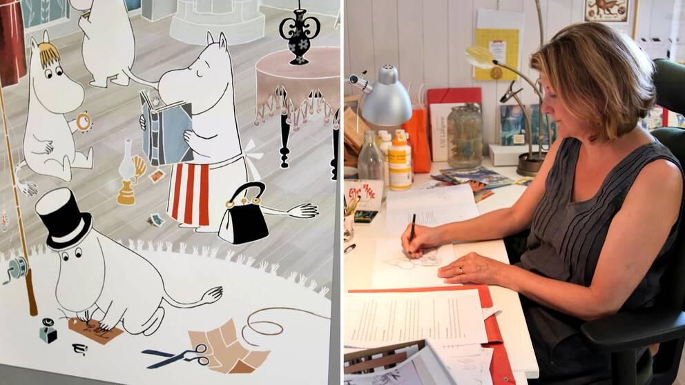Illustrationer av Mumin och illustratören Filippa Widlund.