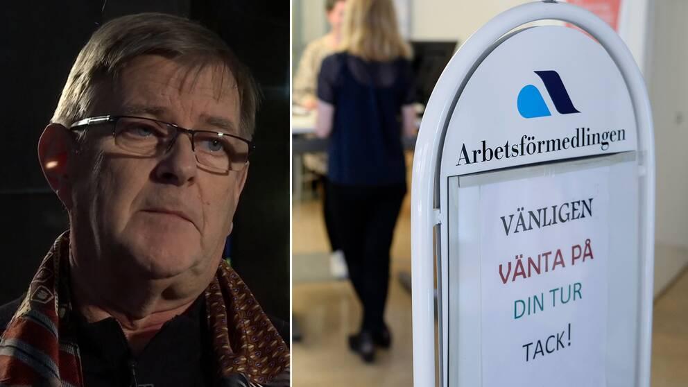 """Lasse Reuterberg och en bild från skylt på Arbetsförmedlingen där det står """"Vänligen vänta på din tur tack""""."""