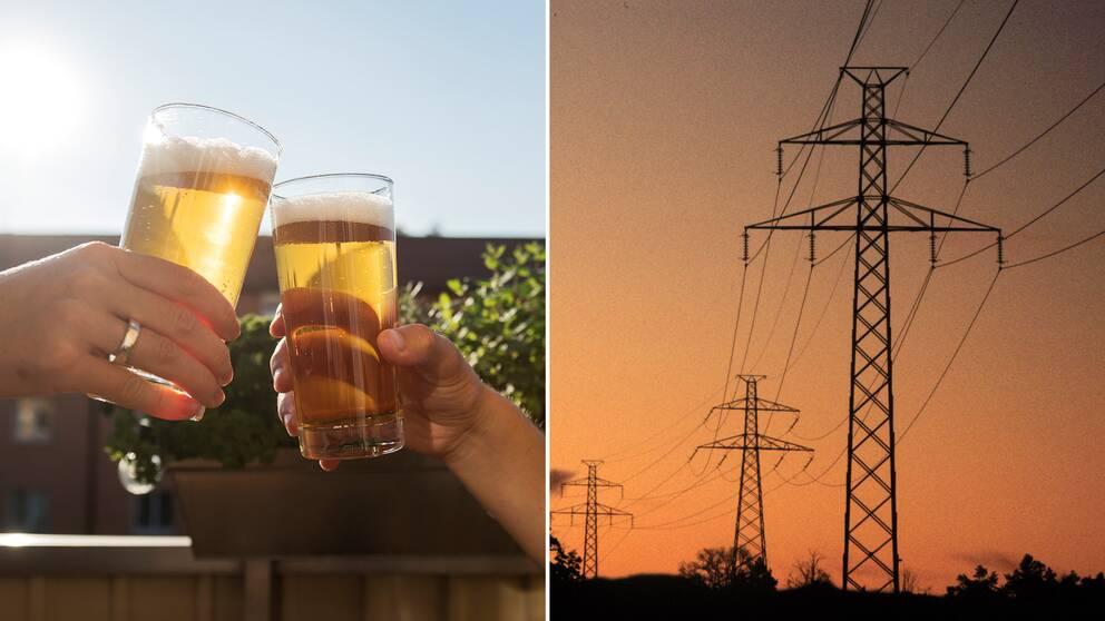 Öl och en kraftledning.