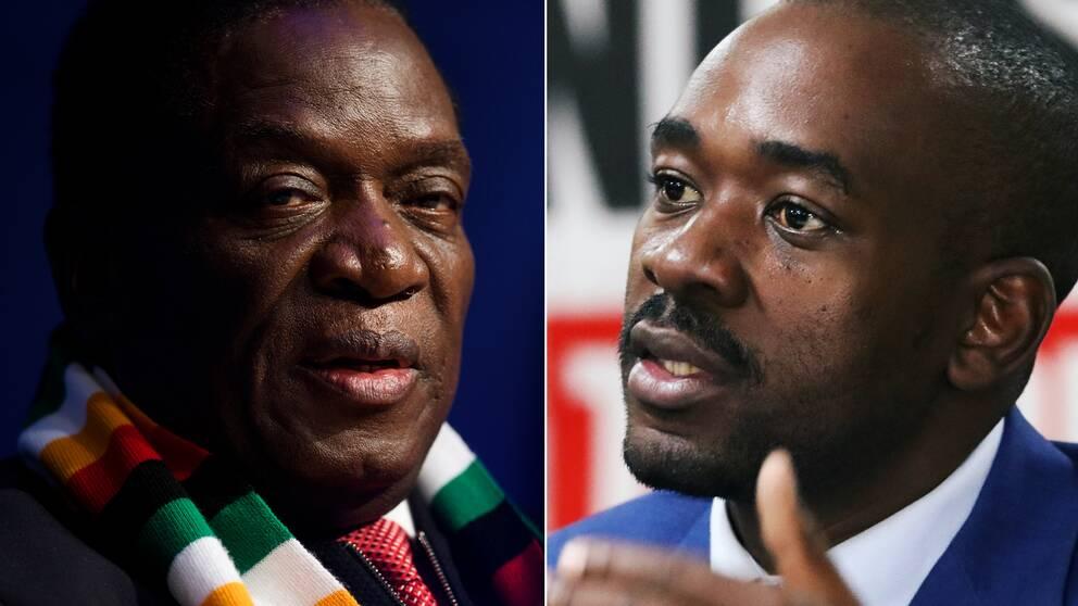 Emmerson Mnangagwa och Nelson Chamisa.