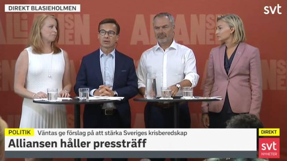 Alliansledarna Annie Lööf (C), Ulf Kristersson (M), Jan Björklund (L) och Ebba Busch Thor (KD).