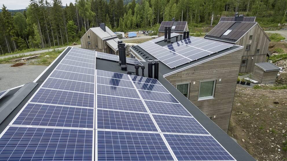 Solceller på hustak.