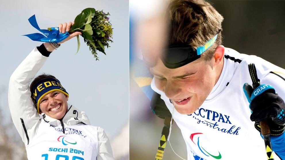 Skidåkarna Helene Ripa och Sebastian Modin tog dubbla medaljer för Sverige.