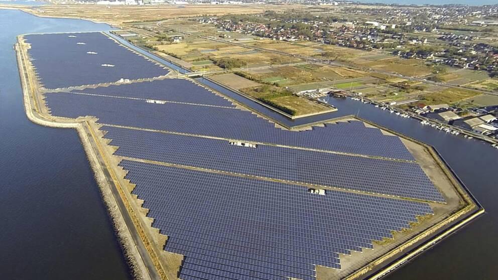 I Yonago i västra Japan har ett telekombolag satsat på flytande solpaneler efter Fukushimaolyckan.