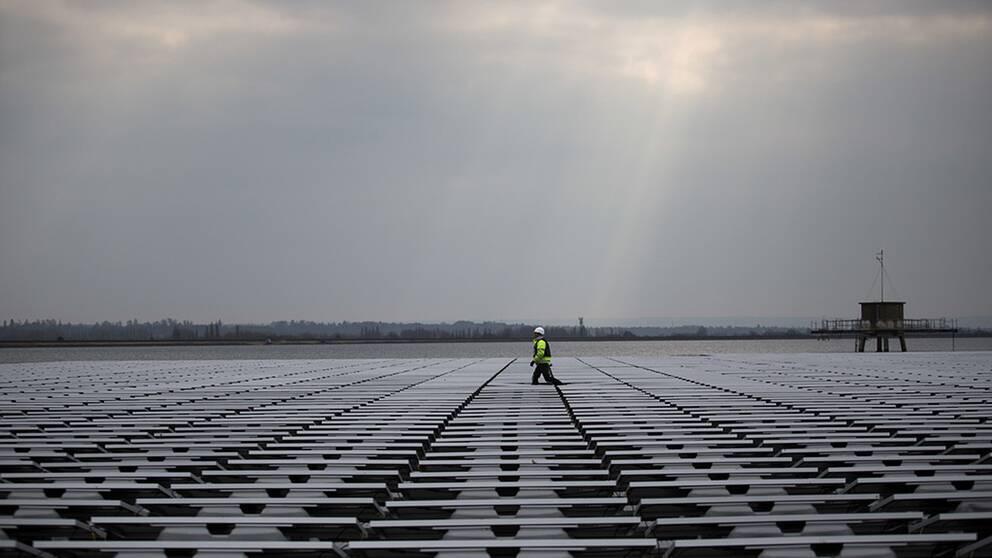 Flytande solpaneler används där det är brist på mark och priserna är höga. Queen Elizabeth-reservoaren utanför London togs i bruk 2016.