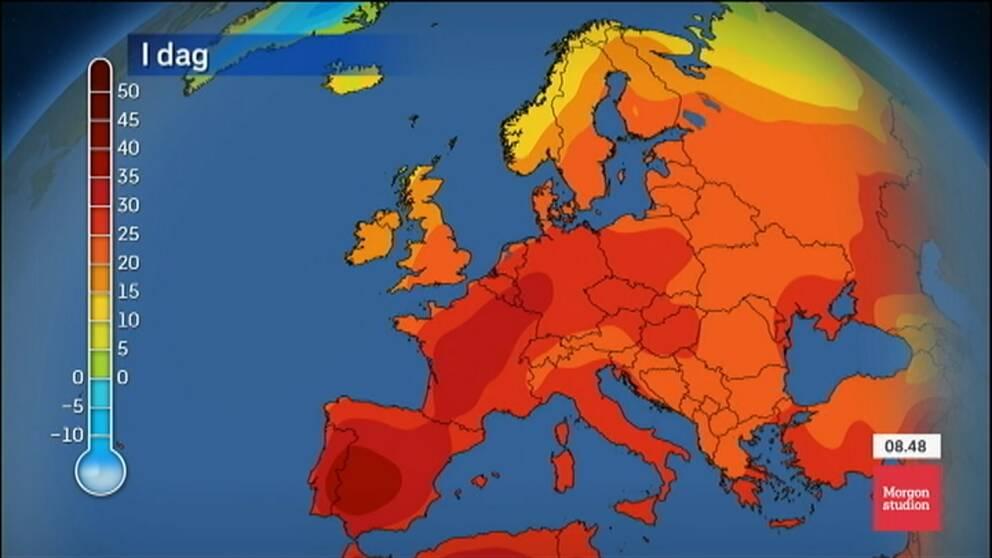 Värmekarta över Europa.