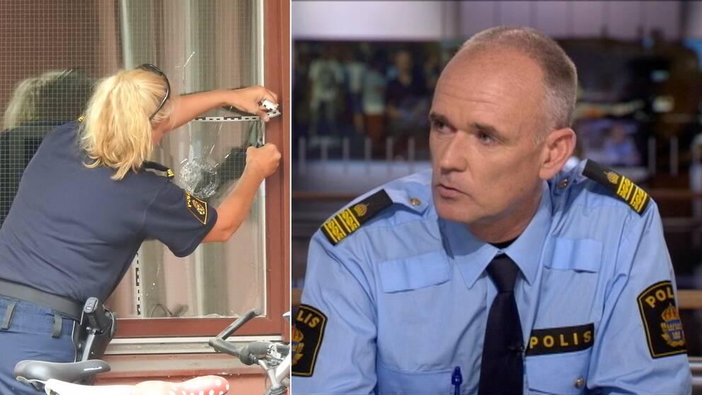 Till vänster en polis vid ett skotthål i ett fönster. Till höger Martin Lundin i SVT:s studio.
