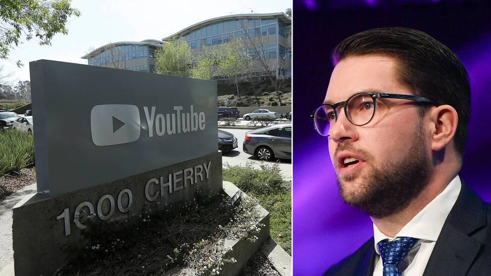 Youtube-skylt utanför företagets kontor och till höger en bild på Jimmie Åkesson.