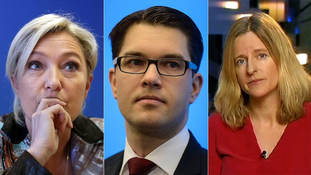 Marine Le Pen, Jimmie Åkesson och SVT:s Ulrika Bergsten.