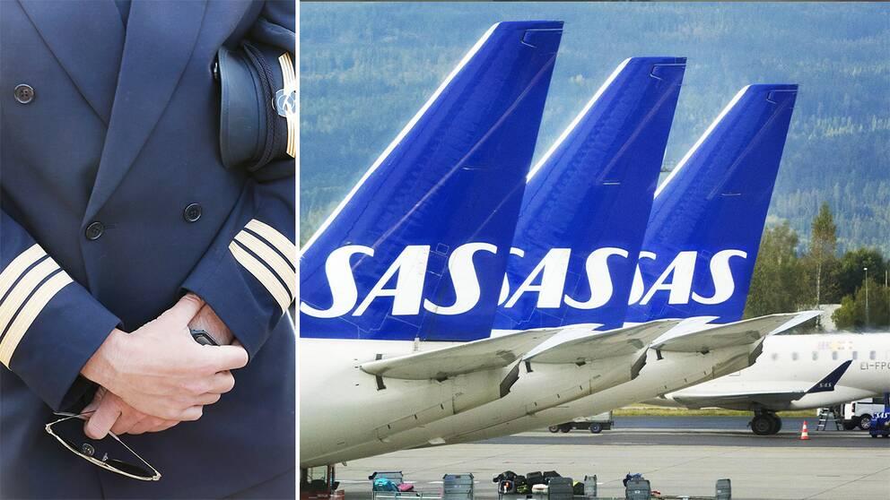 Till vänster en pilot. Till höger: flera uppradade SAS-plan