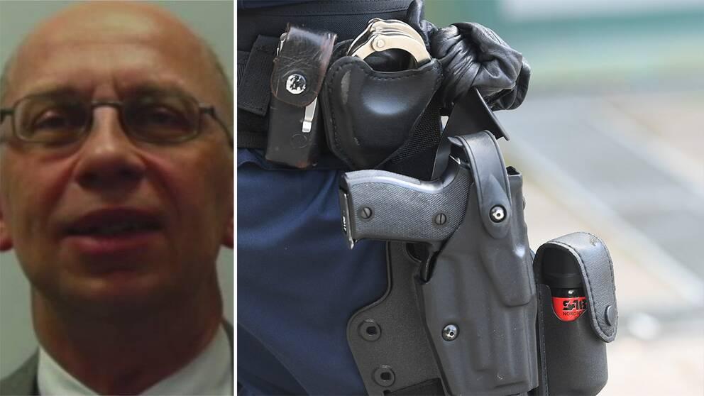 Professor i polisforskning Johannes Knutsson till vänster, ett polisvapen till höger