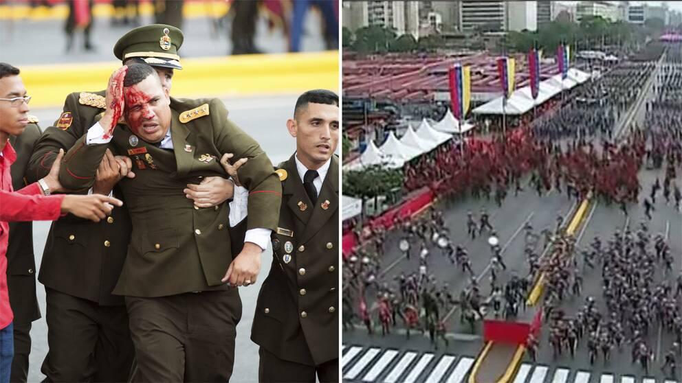 Bild på blodig militöär som förs bort samt bild på när folkmassan skingras efter explosionsljud i Venezuela.