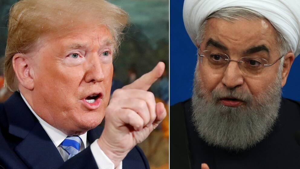 Donald Trump och Hassan Rouhani.