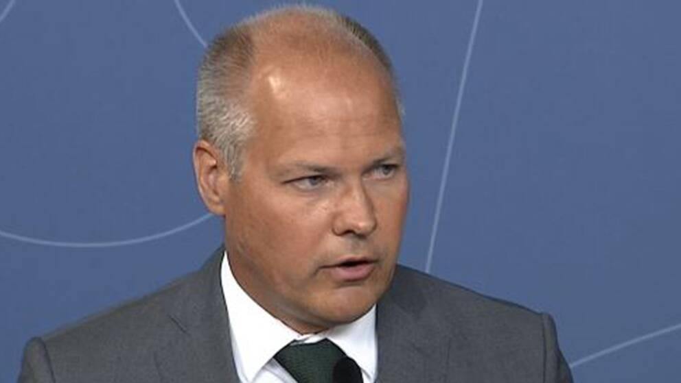 Justitie- och inrikesminister Morgan Johansson (S) håller pressträff om skogsbränderna.