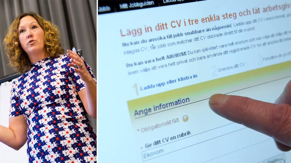 Angeli Jönsson och en skärm med en jobbansökan