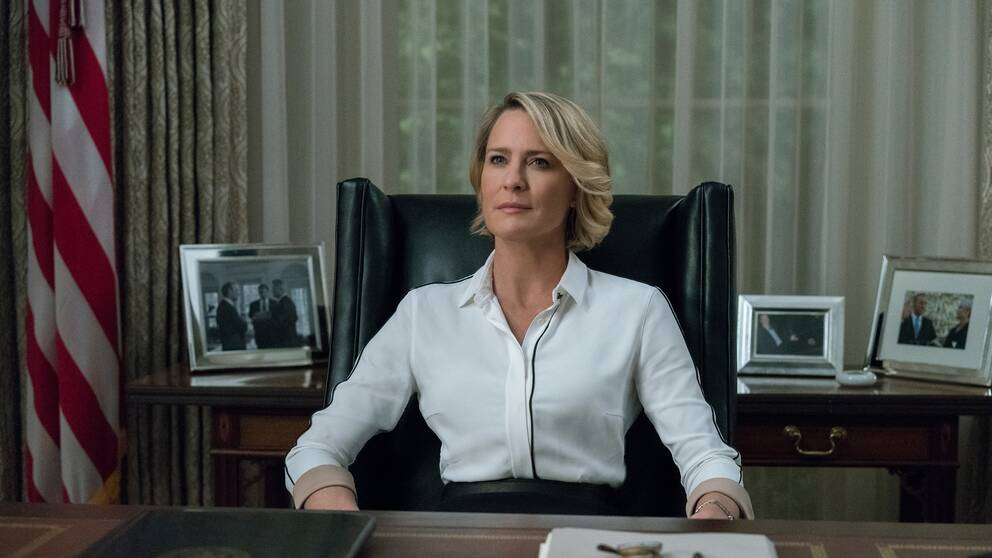 "Skådespelaren Robin Wright som president i ""House of cards""."