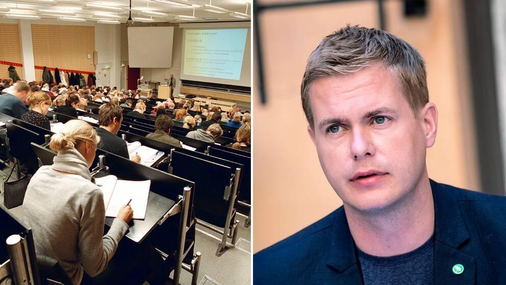 Delad bild: Först på studenter som sitter och lyssnar på en föreläsning, samt en bild Miljöpartiets språkrör Gustav Fridolin.