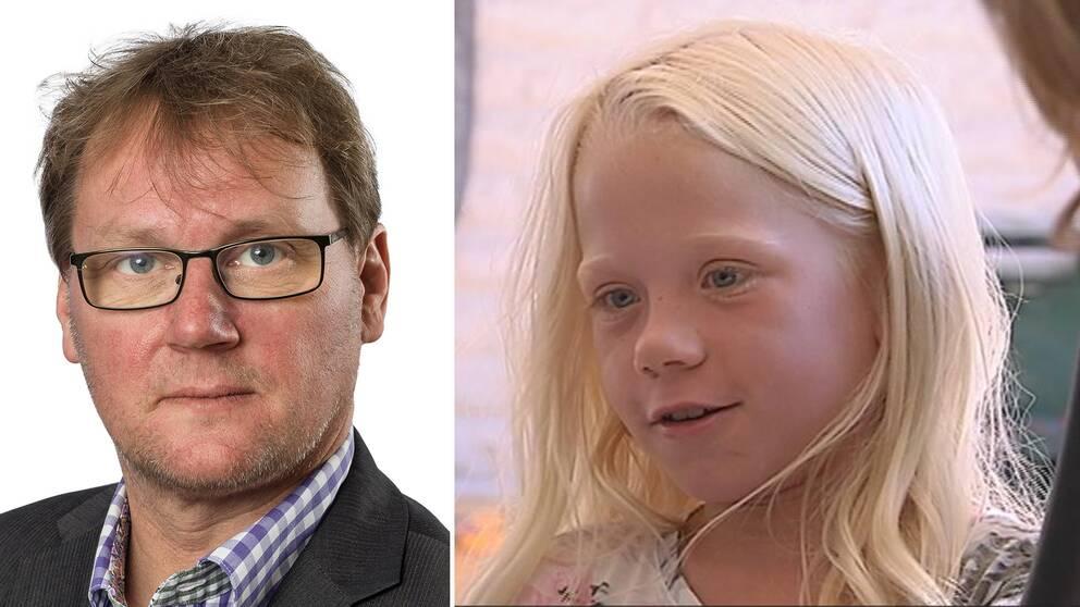 dubbelbild: porträtt på man med glasögon och flicka med långt blont hår