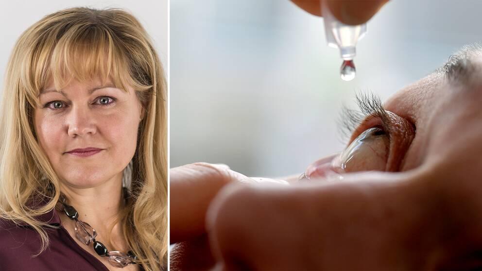 Halva bilden på reporter Josefin Lennen Merckx och halva bilden på en person som använder ögondroppar