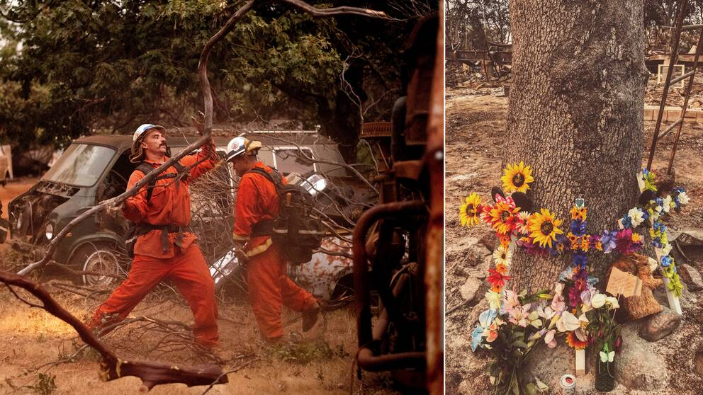 Till vänster fångar som deltar i brandbekämpningen i Kalifornien. Till höger platsen där en brandman dog medan han bekämpade Carr Fire utanför Redding.
