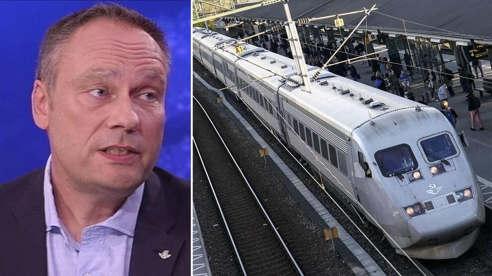 Ett x2000-tåg och SJ:s tillförordnade presschef Tobbe Lundell.