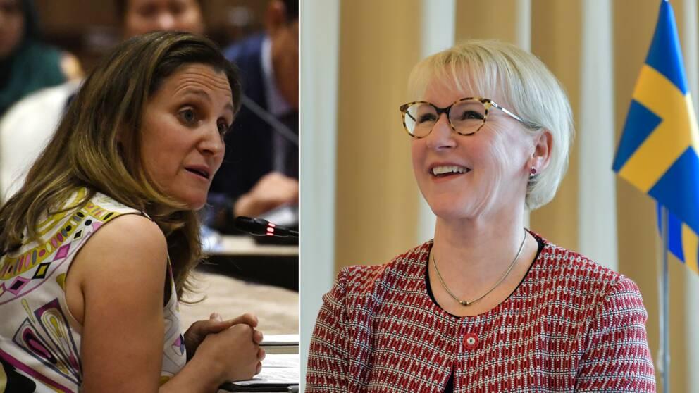 Kanadas utrikesminister Chrystia Freeland och Sveriges utrikesminister Margot Wallström (S).