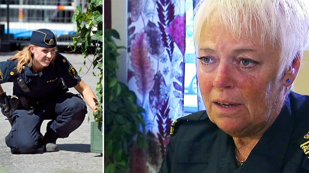 Vänster bild: Arkivbild på kvinnlig polis. Höger: Närbild på polischef Eva Högfeldt Pettersson.