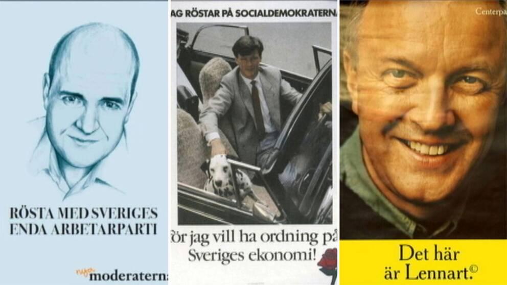 Från vänster: Moderaternas affisch 2010, Socialdemokraternas affisch från 1985 och Centerpartiets affisch från 1998.