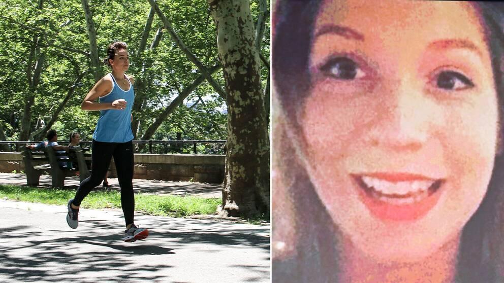 Mia Dahlgren Winther springer utomhus. Sammansatt med en bild på Kim Wall när hon ler.