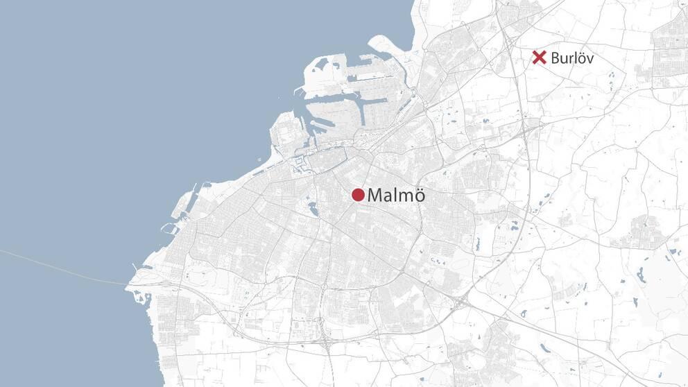 Karta över Malmö med Burlöv utmarkerat
