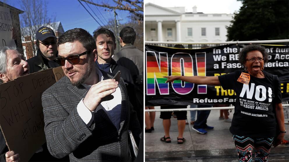 Foto på Jason Keller och foto på motdemonstranter utanför Washington DC dagen innan demostrationen