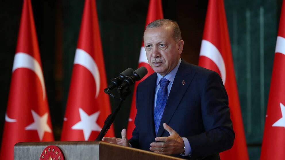 Turkiets president Tayyip Erdogan hävdar att en konspiration ligger bakom valutaraset.